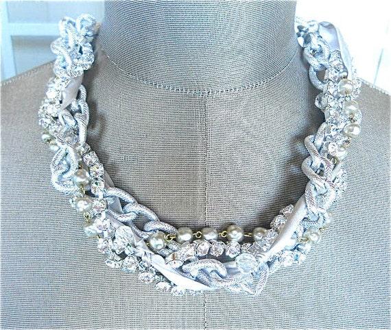 Silver Rhinestone Bridesmaid Necklace Vintage Wedding Satin Ribbon Adjustable Chunky Bridesmaid Necklace - Double Twisted in Silver Necklace