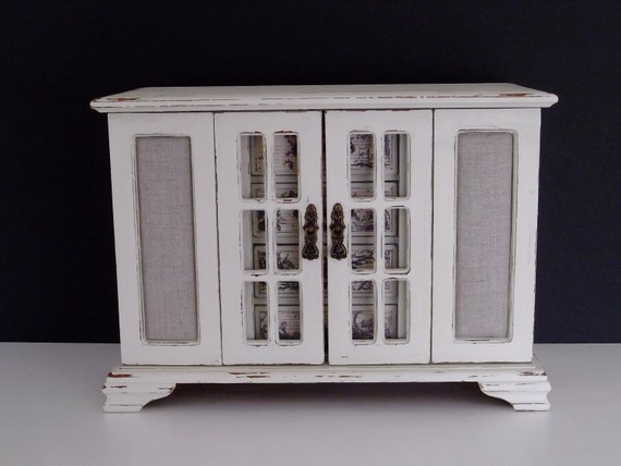 XL Vintage Jewelry Box in French Toile Farmhouse Style