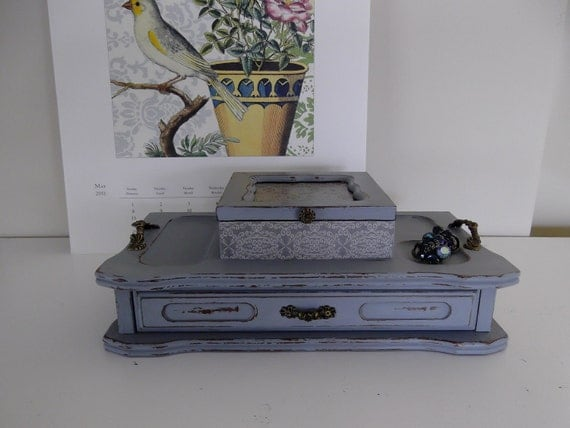 Vintage Jewelry Butler, Jewelry Box, Handpainted in Paris Grey, Shabby Chic