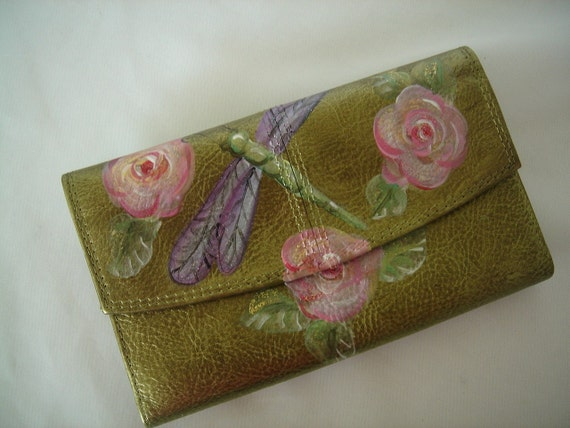 Wallet/ Clutch -  DRAGONFLY and Rose - Handpainted - green metallic leather-