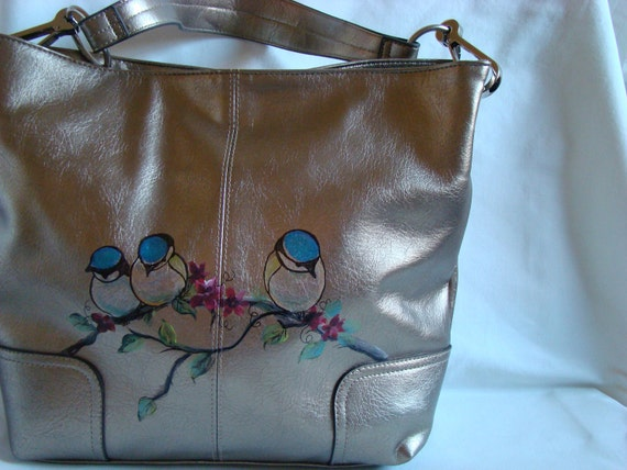Chickadees on a branch - OOAK - Hand painted metallic bag