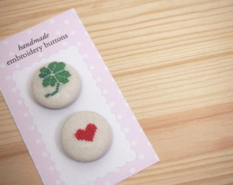 Lucky Four Leaf Clover and Red Heart Embroidery Fabric Covered Button Pair