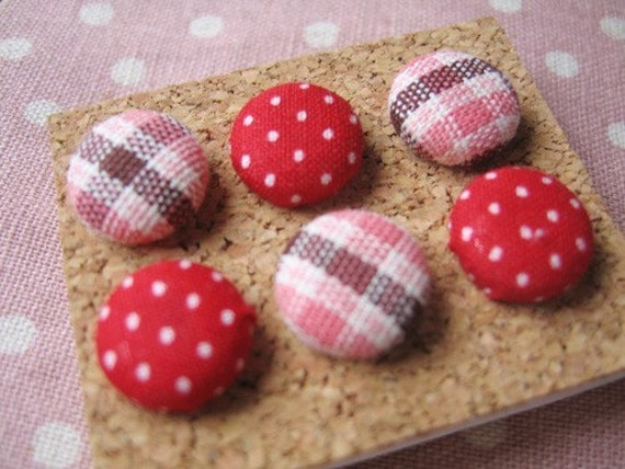 Cottage Chic Pink Plaid and Dots Fabric Covered Pushpins Set