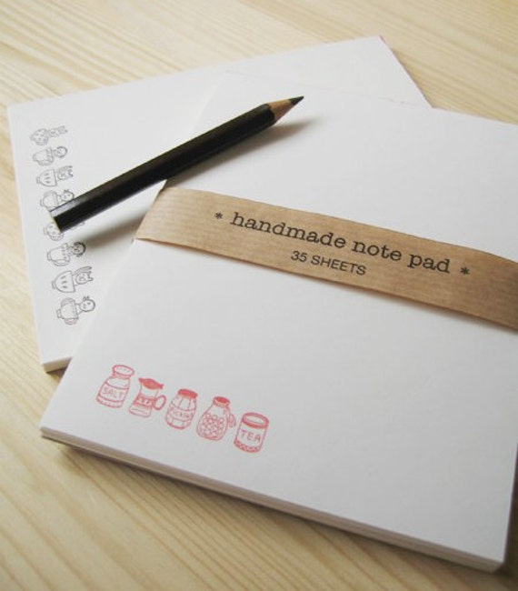 Kitchen Note Pad for Grocery List, hand-stamped