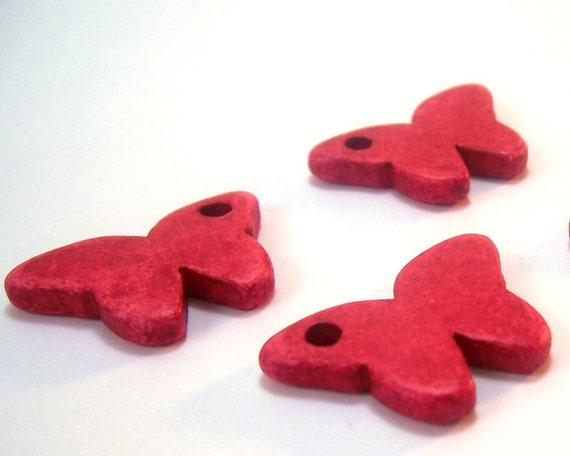 Butterfly greek ceramic beads / charms, red - 4 pieces