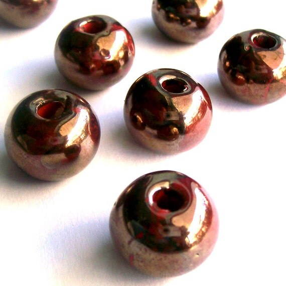 Round greek ceramic beads, enameled beads, copper finish, 16mm  - 6 pieces