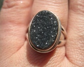 SALE: Black Druzy Onyx, Drusy Ring in Sterling Silver size 7