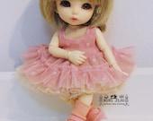 Lati Yellow Puki Fee Tiny 16cm. BJD Sleeves less tiny maid ruffle lace pink and ivory set