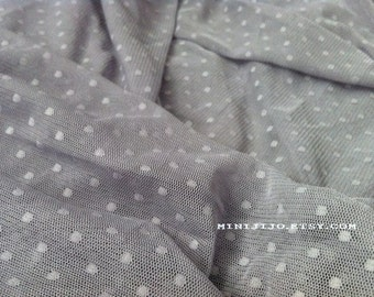 Fat Quarter Grey Dot Lace fabric 1/4 mtr.
