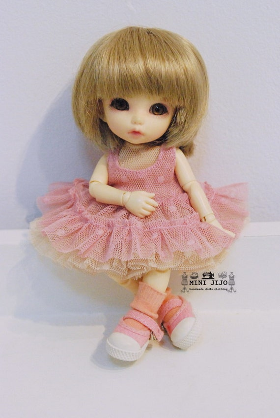 Lati Yellow Puki Fee Tiny 16cm. BJD Sleeves less tiny maid ruffle lace pink and ivory set