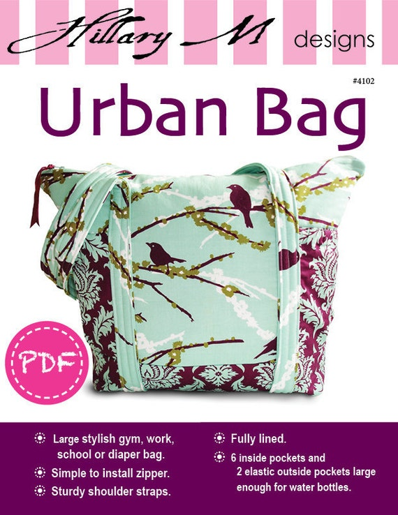PDF Urban Tote Bag Purse Pattern with Eight Pockets