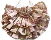 Pink Beige Print  Hand Bag with Ruffles
