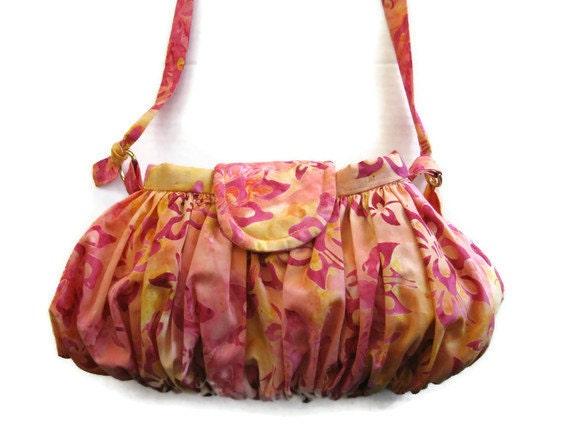 Pink Orange Tropical Print Bag