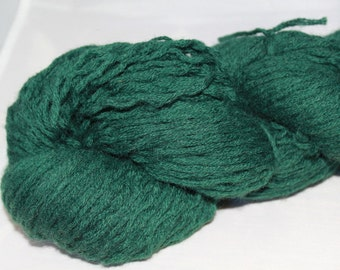 20% OFF SALE Forest Green Reclaimed Wool Yarn, Worsted Weight Yarn - 237 Yards