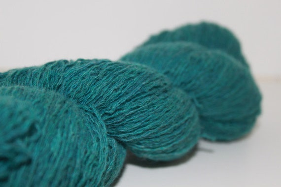 Blue Green Recycled Merino Angora Yarn, Lace Yarn - 577 Yards