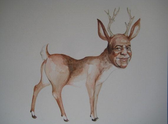 Bill Cosby deer watercolor