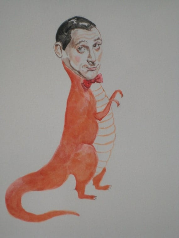 Pee Wee Herman as an orange T-Rex original watercolor