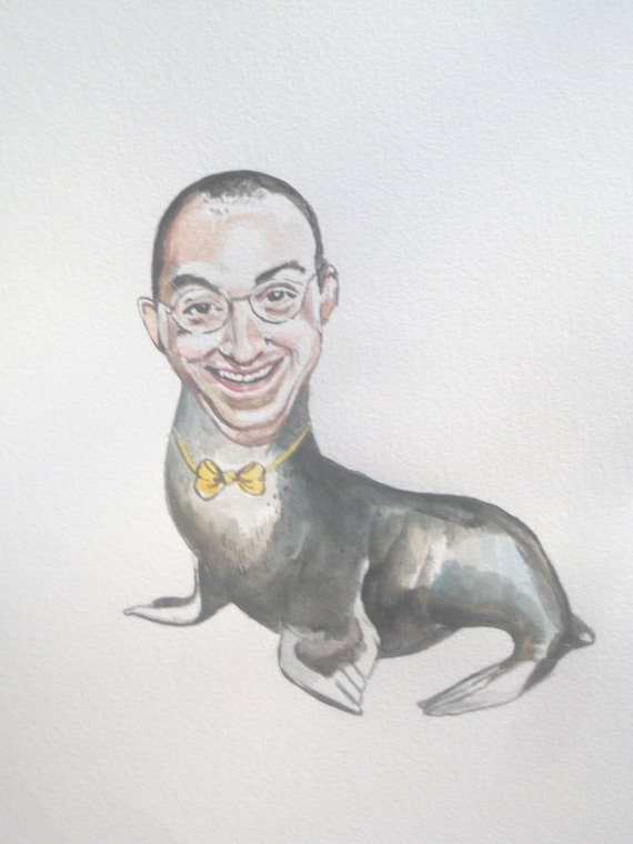 Buster Bluth as a seal with a yellow bowtie original watercolor