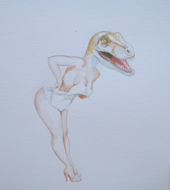 Velociraptor as a sexy pin up