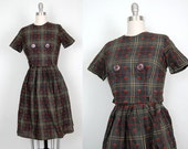 Vintage 1950s APPLE A DAY plaid skirt and blouse set xsmall