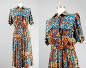 1980s boho dress Leslie Fay mosaic print