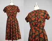 1950s dress / black floral cotton voile / small