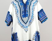 RESERVED: 1970s greek-inspired blue and white dashiki tunic top / large
