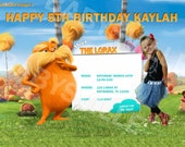 Dr. Seuss LORAX Custom Birthday Invitations Card Photo Invite