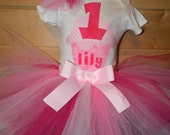 Girls 1st Birthday Pink Cupcake Birthday Outfit Appliques Onesie TuTu Hair Puff Pinkalicious Pinkerrific sizes 12 18 24 months