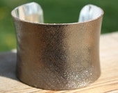 SEPT SALE -- Metallic Leather Cuff -- 2 inch Concave -- Gold/Pewter
