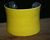 ON SALE- Italian Leather Cuff Bracelet - Yellow 2 inch Concave