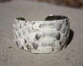 ON SALE- Snakeskin Cuff Bracelet - Natural Leather White Black Brown