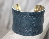 Ostrich Leather Cuff Bracelet - Blue Ostrich Skin