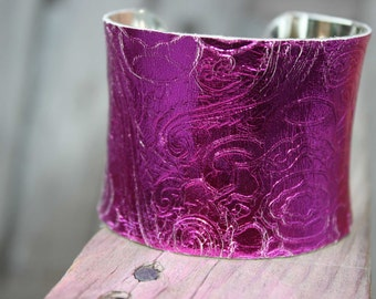 ON SALE- Leather Cuff Bracelet - Fuschia Pink Floral Embossed Leather
