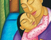 Mother and Daughter Embrace - Large Archival Art Print