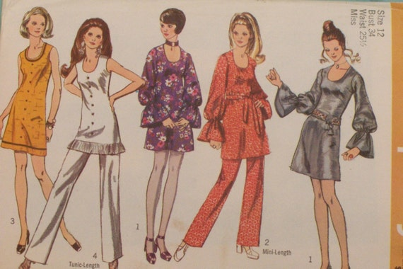 Vintage 1970 sewing pattern- BoHo Retro Mini dresses or Tunic and pants