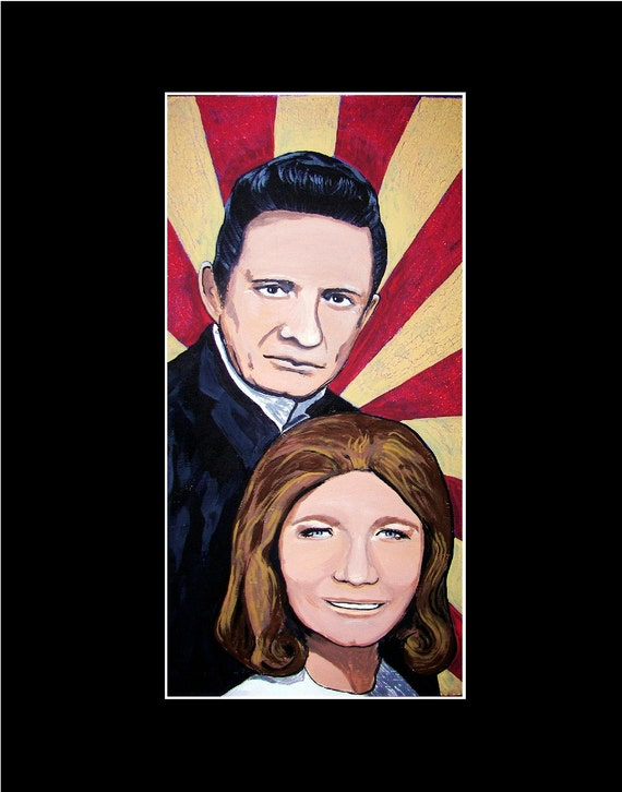Johnny Cash and June Carter Cash 11x14