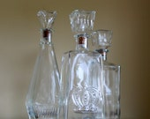 3 Vintage Glass Decanters Dinning Room Buffet Decor