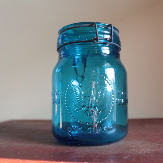 Vintage Blue Glass Jar with Lid - 1965 Made in Italy