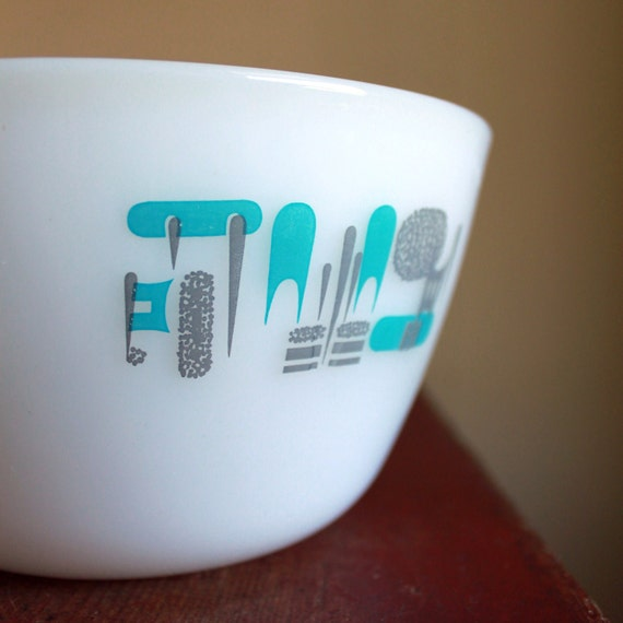 Mid Century Retro Milk Glass Bowl