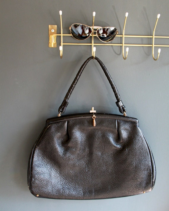 Vintage 50s Black Leather Handbag - Rockabilly Style
