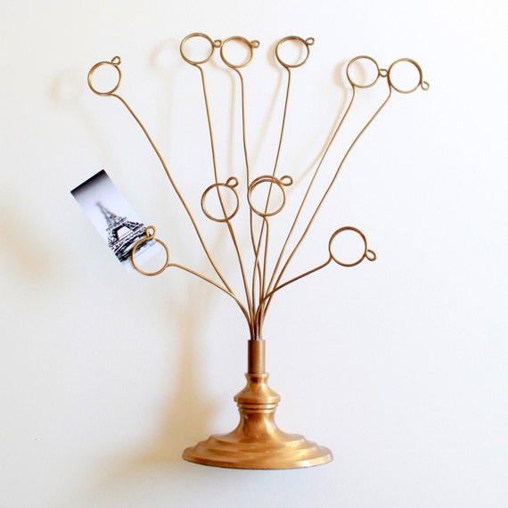Vintage Brass Business Card Holder Picture Stand