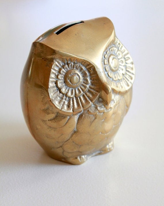 RESERVED FOR MINNA Vintage Golden Brass Owl - Coin Bank