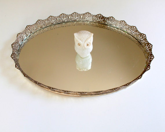 Vintage Golden Oval Vanity Mirror Tray - Large Size