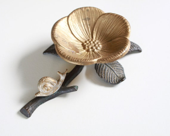 Vintage Brass Flower Dish with Snail - Jewelry or Bussines Card Holder