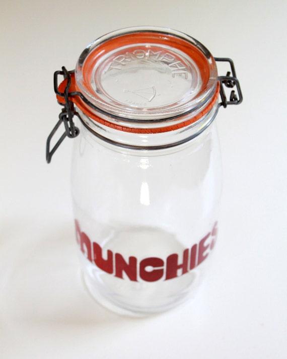 Vintage Font Glass Jar Munchies - Kitchen Storage Container
