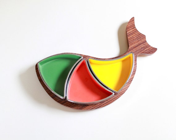 Mid-Century Danish Modern Fish Serving Tray - Melamine Dip Dish
