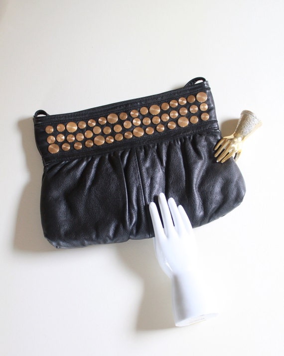 Vintage Black Leather Purse with Golden Brass Circles