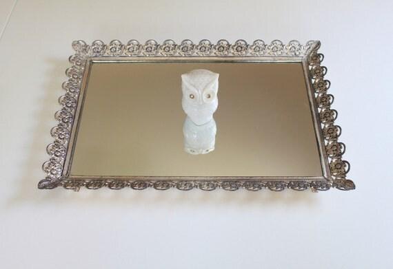 Vintage Silver Metal Vanity Mirror Tray - Flower Frame