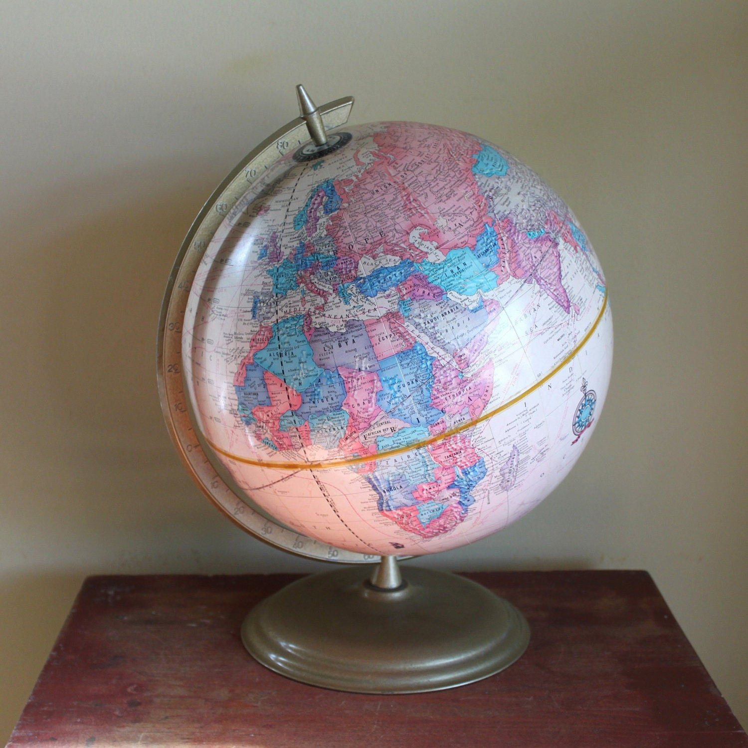 Vintage Pink Cram S Imperial Series World Globe